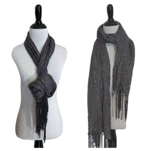 Wide grey scarf with shimmery sequins